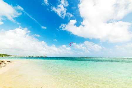 Kite surfer in Guadeloupe, French west indies. Lesser Antilles, Caribbean sea