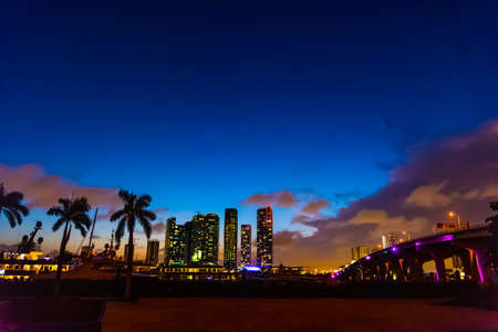 Downtown Miami and MacArthur causeway at night. Southern Florida, USA