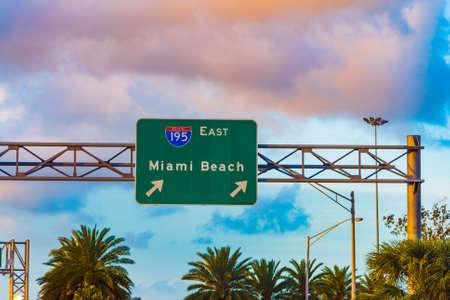 Miami Beach exit sign on 195 interstate freeway. Southern Florida, USA