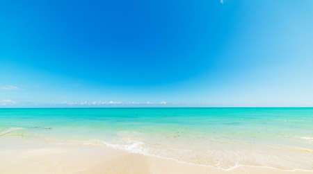 Blue sky and turquoise water in Miami Beach shore. Southern Florida, USA