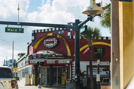 Daytona Beach, USA - February 23, 2019: Cruisin Cafe in Daytona Beach Main street on a cloudy day