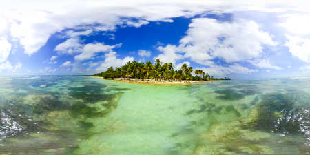 360 degrees view of Bois Jolan beach in Guadeloupe, French west indies. Lesser Antilles, Caribbean sea