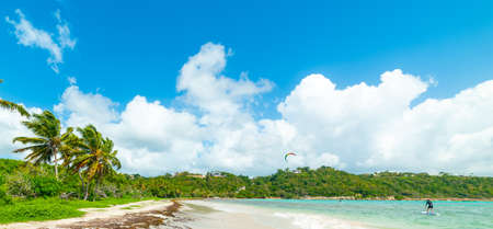 Blue sky over Pointe de la Saline beach in Guadeloupe, French west indies. Lesser Antilles, Caribbean sea
