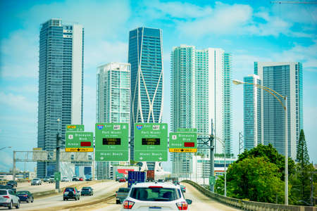 Driving on the highway in Miami, USA