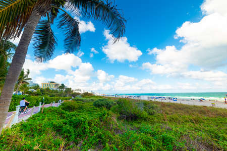 Miami Beach seafront on a cloudy day. Southern Florida, USA 스톡 콘텐츠