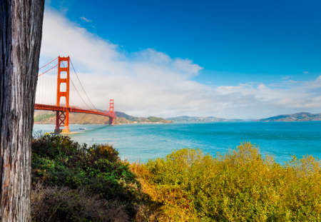 World famous Golden Gate bridge in San Francisco seen from the bay. Northern California, USA