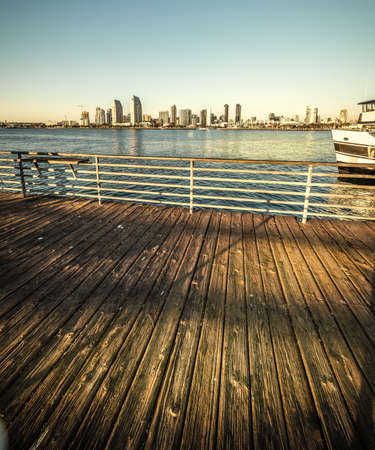 Wooden boardwalk in Coronado island at sunset. San Diego, California 版權商用圖片