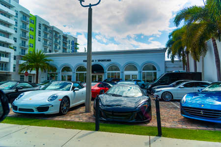 Miami, USA - February 26, 2019: Luxury cars in a Car dealer parking area Editorial