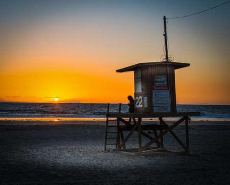 Lifeguard hut in Newport Beach at sunset, Orange County. Southern California, USA Reklamní fotografie
