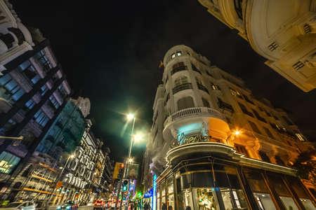Madrid, Spain - January 24, 2020: Night life in Gran Via boulevard in downtown Madrid