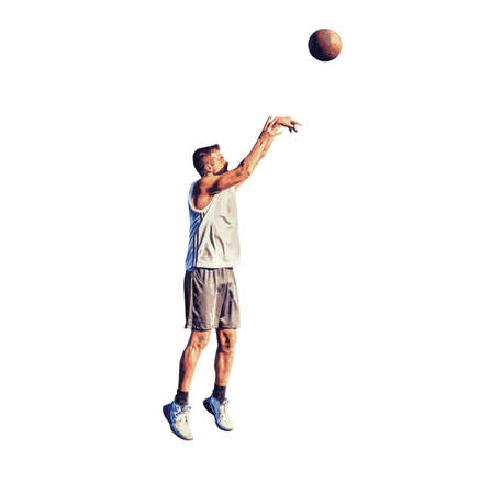Lefty basketball player shooting on white background.