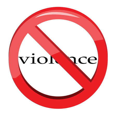 Violence written in a No Sign on white background.