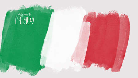 Welcome to Italy written on the stylized Italian flag in watercolor effect Reklamní fotografie