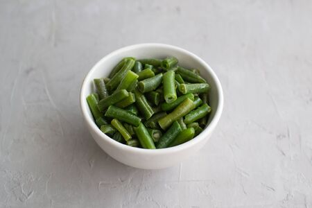 Cooked green beans in olive oil with garlic and lemon. Light food for any time of day. Stok Fotoğraf