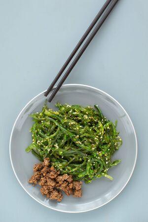 Japanese Wakame Seaweed Salad. Healthy food. Vegetarian Salad. This salad has a large amount of vitamins, it is light and healthy.