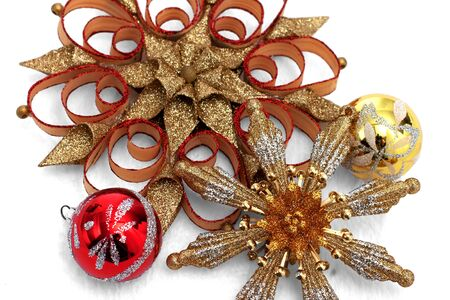 Red and gold Christmas ornament display