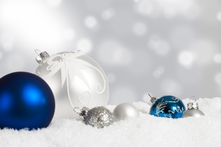 Silver and blue Christmas ornament display