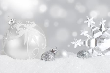 Silver Christmas ornament display