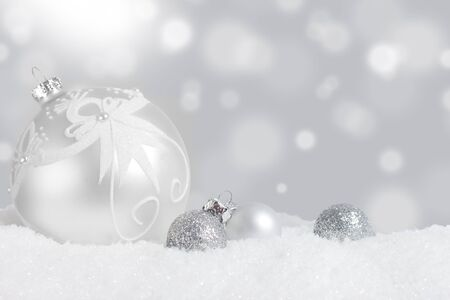 Silver Christmas ornament display Stock Photo - 16587944