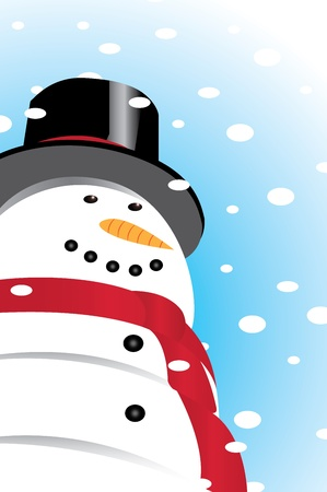 Snowman smiling looking up at falling snow