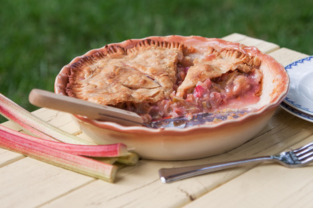 Freshly baked rhubarb pie