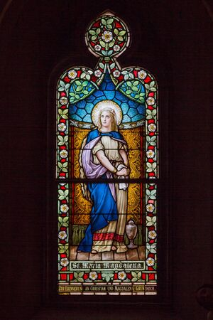 magdalena: Stained glass window depicting St. Maria Magdalena, also known as Mary Magdelene in the bible