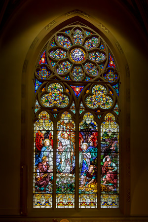 stained glass windows: Stained glass window depicting the Resurrection of Jesus Christ.  St. John Nepomuk church