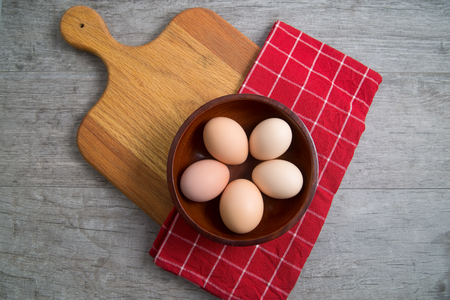 Top view of a bowl of cage free brown eggs ready for a healthy breakfast Stock Photo