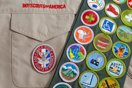 SAINT LOUIS, UNITED STATES - OCTOBER 16, 2017:  Eagle patch and merit badge sash on Boy Scouts of America (BSA) uniform
