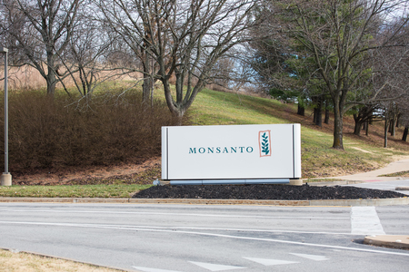 SAINT LOUIS, UNITED STATES - December 17, 2017: Monsanto sign at entrance to global research headquarters at Chesterfield campus