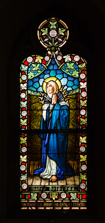 SAINT LOUIS, UNITED STATES - MARCH 11: Stained glass of Mater Dolorosa - Our Lady of Sorrows at St Frances De Sales Oratory on March 11, 2015. St. Frances is the second largest Catholic church in St. Louis. Editorial