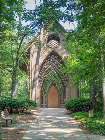 Bella Vista AR, UNITED STATES - June 1, 2018: Mildred B Cooper memorial chapel is a Gothic style woodland church made of glass and wood