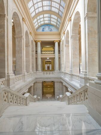 LITTLE ROCK, AK, UNITED STATES - May 30, 2018: Interior view of the Arkansas Capitol building showing skylights and paintings