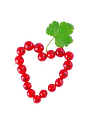 red currant: heart of red currant on a white background, isolated Stock Photo