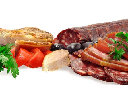 deli meats, sausage, olives, tomatoes, fresh herbs, isolated photo