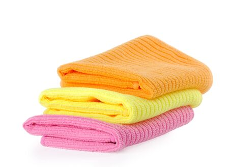 rags for cleaning on a white background, towel  photo