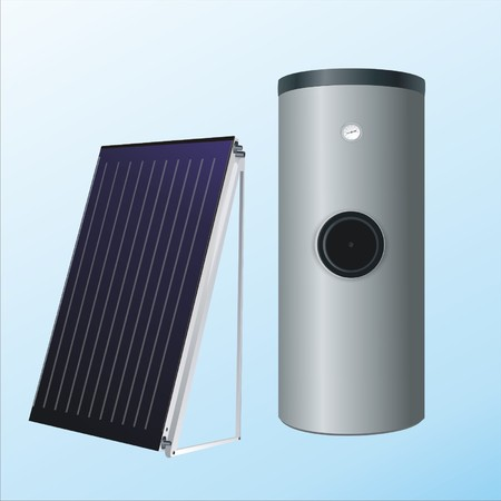 solar house: solar panels to the boiler for heating water