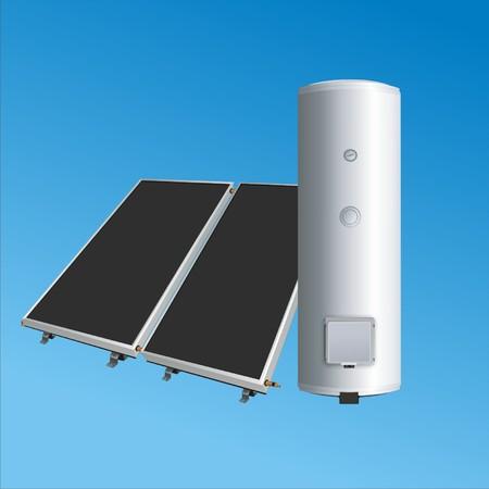Solar-Panels auf dem Kessel für Heizung water2 Vektorgrafik