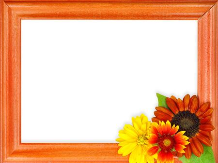 frame with flowers isolated on a white background photo