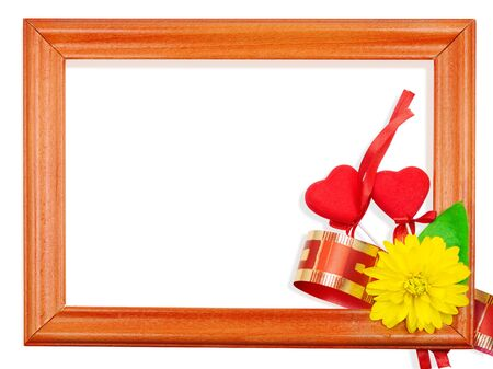 Valentine's Day two hearts in a frame on a white background Stock Photo - 7689115
