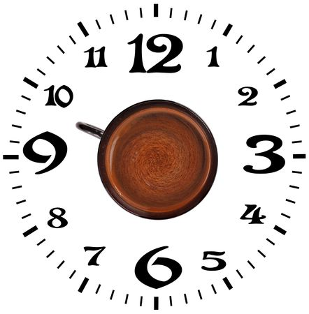 meal time: coffee and a dial on a white background Stock Photo