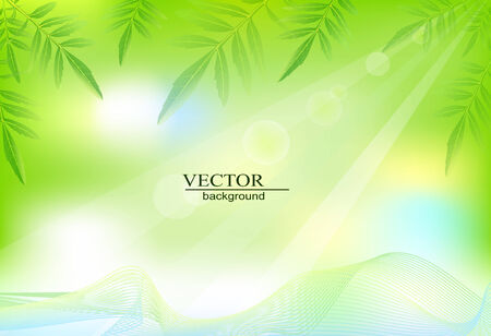 green background with leaves Stock Vector - 8000415
