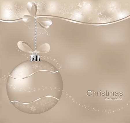 christmas  background with one ball and asterisks  Vector