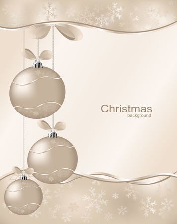 christmas  background with three ball and snowflakes Vector