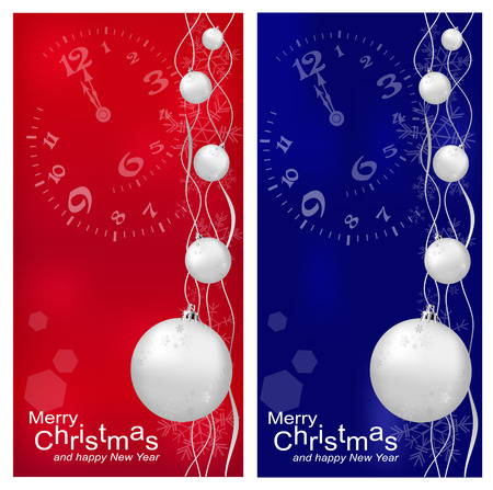 darck: Vector Christmas, New Years background with ball (red and darck blue)