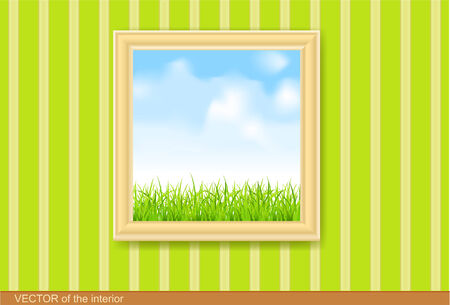 art museum: painting in wooden frame on the green wall.