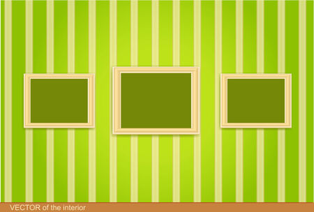 three wooden frame on the green wall.  Stock Vector - 8702988