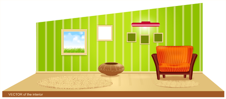 room with green wallpaper and a striped armchair Stock Vector - 8702994