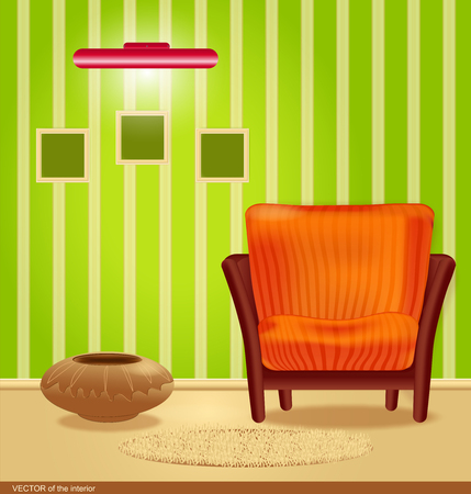 room with green wallpaper and a striped armchair, with a framework for the wall and lamp Vector