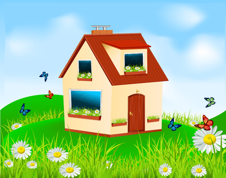 window sill: house with yellow walls, red roof and daisies on the window sill standing in the meadow under blue sky Illustration